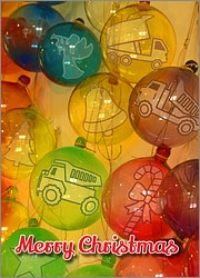 Dump Truck Glass Ornaments