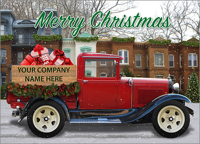 Red Christmas Truck Card (Glossy White)