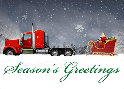 Reindeer Truck Christmas Card (Glossy White)