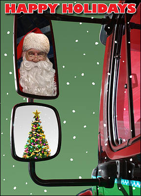 Truck Mirror Christmas Card (Glossy White)
