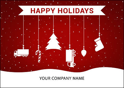 Trucking Ornaments Holiday Card (Glossy White)
